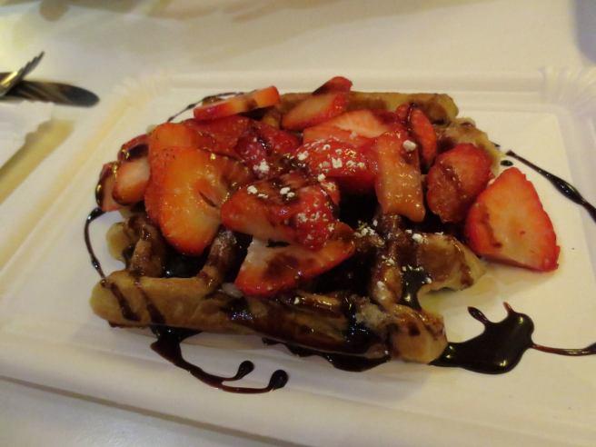 strawberry chocolate waffle